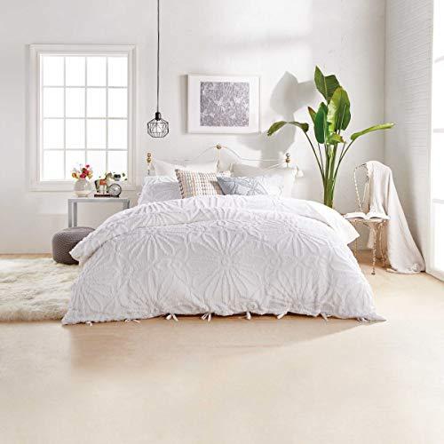 Peri Home Chenille Medallion Bedding in White (King Size Duvet Cover Set)