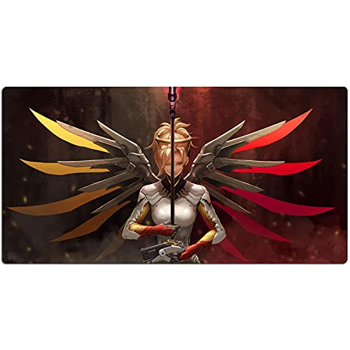 OW Mercy Gaming Mouse Pad Large Mouse Mat Overwatch Game Keyboard Cafe Mat Extended Mousepad for Computer Desktop PC Mouse Pad (Color : 1, Size : 800x300x3mm)