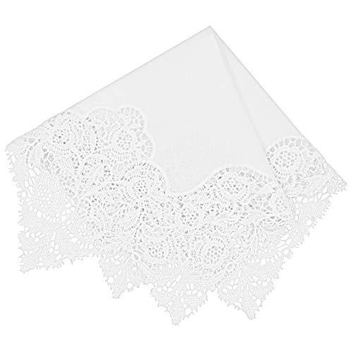 Milesky Damen Taschentuch mit Häkelspitze Weiß 100% Baumwolle Größe 30x30cm CH07