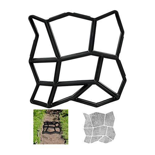 Relaxdays Pflasterform 9 Kammern, HBT 3,5x35x35cm, Pflastersteine streichen, Garten Trittsteine, Beton Gießform, schwarz