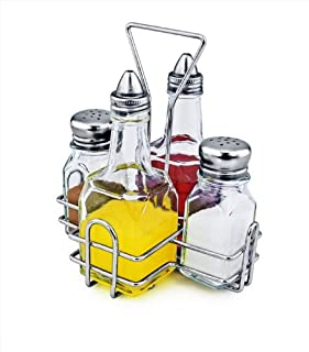 New Star Foodservice 22209 Holder with 2 Square Salt and Pepper Shakers and 2 Oil and Vinegar Cruets