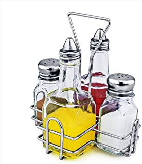 New Star Foodservice 22209 Combo Set Square and salt pepper shaker holder, 5-Piece, Clear