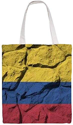Colombia Flag Shoulder Bag Canvas Tote Bag, Reusable Grocery Shopping Cloth Bags, Double-sided Printing Tote Handbags