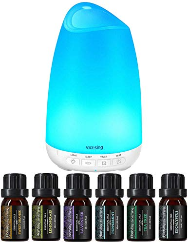 Homasy 150 mL Diffusor mit 6x10mL ätherischen Ölen Set, 21 dB Aroma Diffusor mit 8 Farben Nachtlicht für Schlafzimmer zu Hause Baby (BPA-frei)