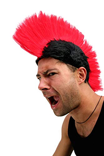 WIG ME UP ® - LM-420-P103/PC13 Karneval: Perücke Punk Mohawk Irokese Iro Spartaner