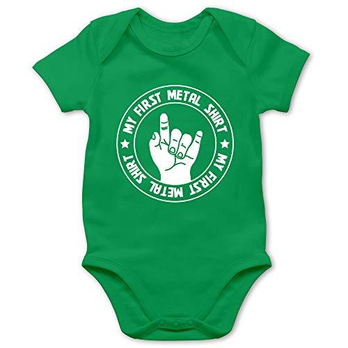 Strampler Motive - My First Metal Shirt - 12/18 Monate - Grün - Babystrampler Jungen lustig - BZ10 - Baby Body Kurzarm für Jungen und Mädchen