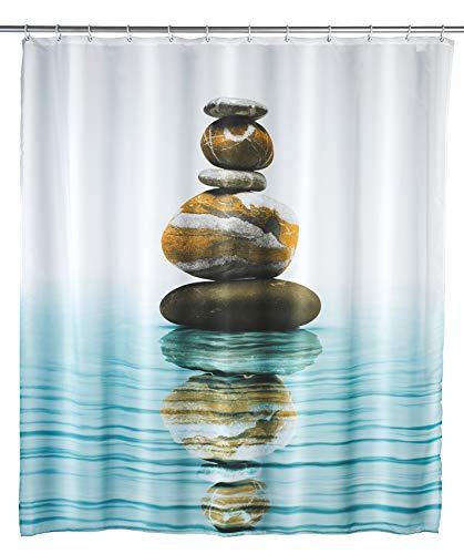WENKO Duschvorhang Meditation, Textil-Vorhang fürs Badezimmer, mit Ringen zur Befestigung an der Duschstange, waschbar, wasserabweisend, 180 x 200 cm