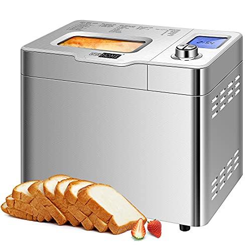 VIVOHOME Panera con dispensador automático de frutas, máquina de pan de acero inoxidable 18 en 1 panificadora digital con función de bricolaje casera, 8 kits de accesorios de lujo