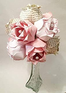 A Dozen Two-toned Paper Roses- Custom first anniversary gift, Personalized origami, paper roses, vase included