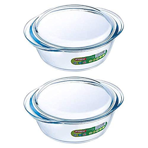 Pyrex Essentials Glass Round Casserole Dish with Lid 1.6L Transparent (Pack of 2)