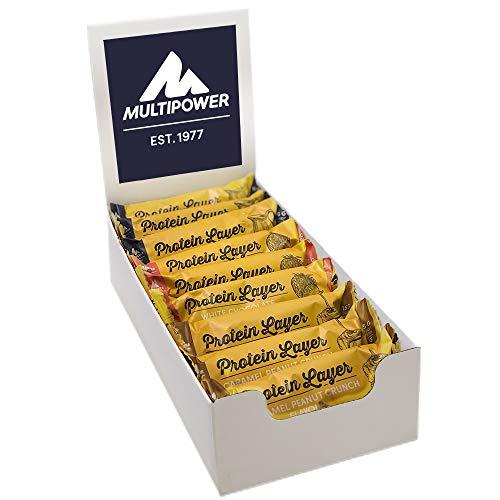 Multipower Protein Layer Mix Box (18 x 50g Eiweißriegel Mix Box (900g), Fitnessriegel mit 30% Protein, Proteinriegel als Sport-Snack, kalorienarmer Eiweißriegel)