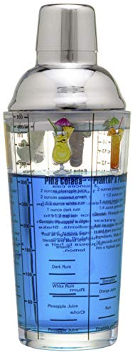 14 oz Recipe Glass Cocktail Shaker With Strainer Top - Includes 6 Cocktail Drink Recipes (Rum Theme)