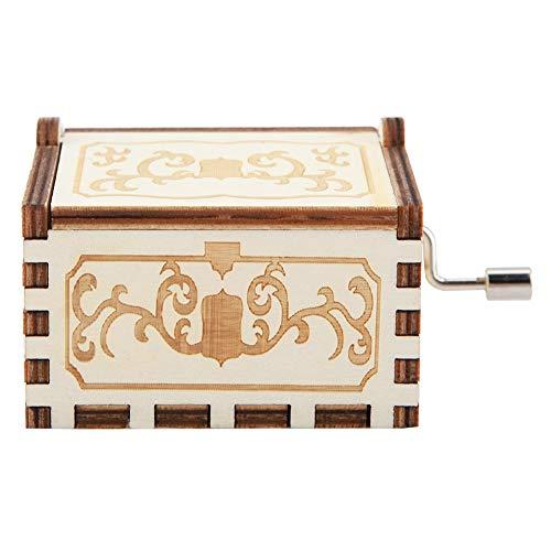 Caja de música de madera con diseño de Star Wars, diseño vintage de Star Wars, accesorios para el hogar grabados con láser, para Navidad, boda, día de San Valentín (bola de dragón blanca)