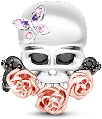 GNOCE Women s Sugar Skull Charm 925 Silver with Butterfly and Rose Gold Flowers Bracelets Charm product image