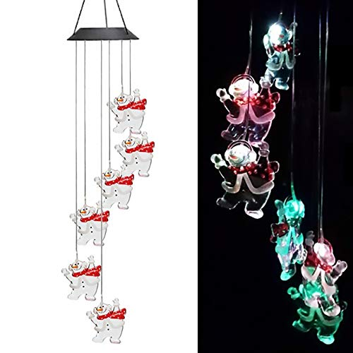Youqian Updated LED Solar Snowman Wind Chimes, Color Changing Wind Spinners Waterproof Automatic Light Sensor for Christmas Decor and Outdoor Garden