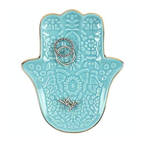 Hand of Hamsa Turqouise - Joyero de cerámica con bordes dorados (11,5...