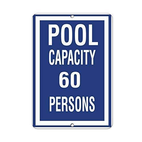 Warnschild Pool Capacity 60 Persons Activity Sign Pool Signs 8X12 Inches Verkehrszeichen Geschäftsschild Aluminium Metall Zinnschild