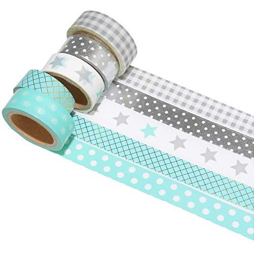 k-limit 5 Set Washi Tape Rollos de Washi Tape, Cinta Decorativa Autoadhesivo,...