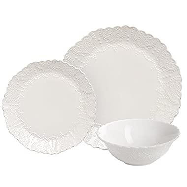 Dinnerware Set Service for 2, Scalloped Embossed Bone China, 6 Piece White Porcelain, Kitchen Gift