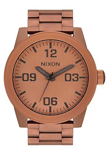 NIXON Corporal SS A346 - Matte Copper/Gunmetal - 100m Water Resistant Men's Analog Field Watch (48mm Watch Face, 24mm Stainless Steel Band)