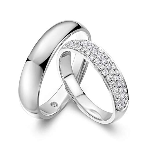 Amody Women's Rings White Gold, Wedding Rings Bands 0.35ct and 0.01ct Diamond 4MM/4.5MM Women Size J 1/2 & Men Size V 1/2