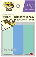 (まとめ買い)スリーエム ポストイット 強粘着ふせん ポータブルシリーズ フラップタイプ M ブルー グリーン 74×25mm 22枚×3パッド POF-M-G4 【×5】