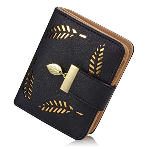 Billetera Pequeña Mujer Billetera con Cierre Cremallera Cartera de Cuero PU Monedero Cartera de Embrague (Negro)
