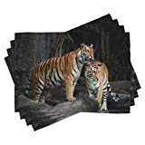 Ambesonne Animal Place Mats Set of 4, Tiger Couple in The Jungle on Big Rocks Image Wild Cats in Nature Image Print, Washable Fabric Placemats for Dining Room Kitchen Table Decor, Ginger Grey