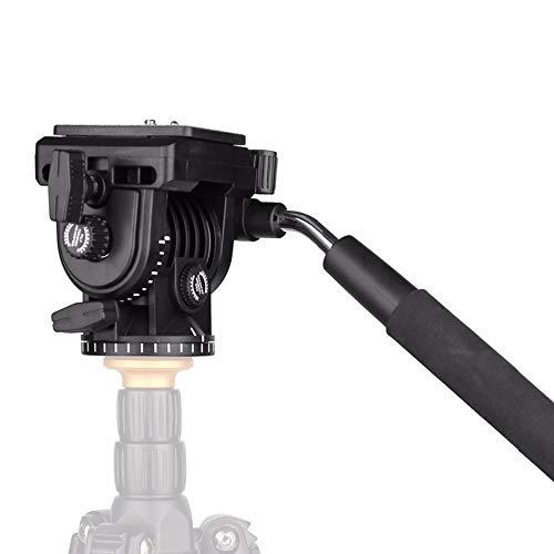 SHENGY Fluid Drag Pan-kop voor videocamera-statief, met 1/4 inch schroeven, glijplaat, voor DSLR-camcorder-opnames, tot 4 kilogram