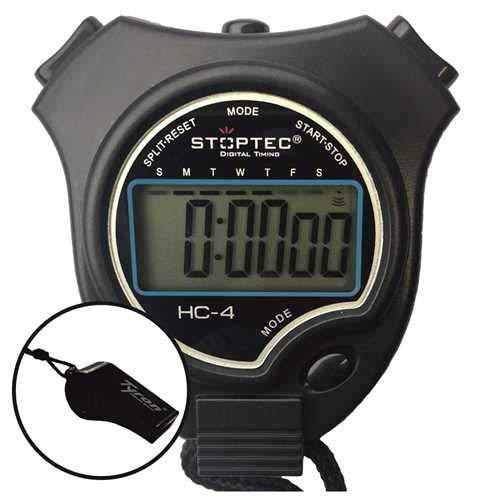 Schütt Stoppuhr Stoptec HC-4 / Stoppuhr mit großem Display/Digitale Stoppuhr mit Uhrmodus, Datum, Alarm, Stundensignal… (mit 1x Trillerpfeife)