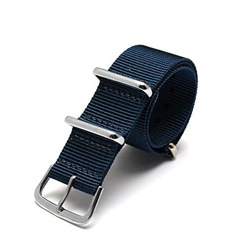 JSDDE Uhrenarmband NATO Strap Uhrenarmbänder Sport Militär Ersatz Premium Ballistic Nylon Uhr Armband Edelstahl Dornschließe (Dunkelblau 20mm)