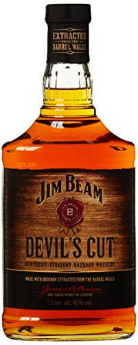 Jim Beam Devil's Cut Kentucky Straight Bourbon Whiskey, robuster Geschmack mit intensiven Eichen- und Vanillenoten, 45% Vol, 1 x 1l