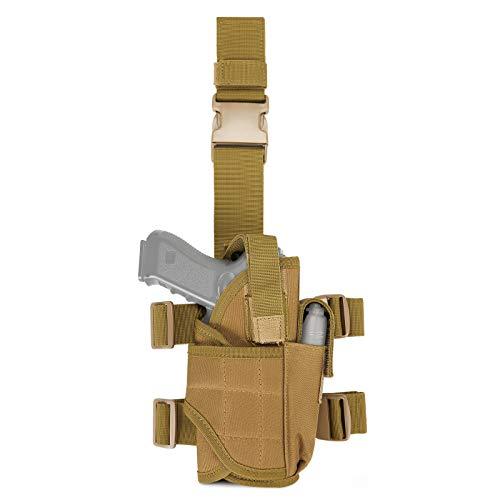 Huntvp Táctical Bolsa de Pierna para Pistola Militar Nailon Funda Impermeable para Diestros Hombres Deporte Airsoft Paintball Cosplay, Tipo 5-Marrón