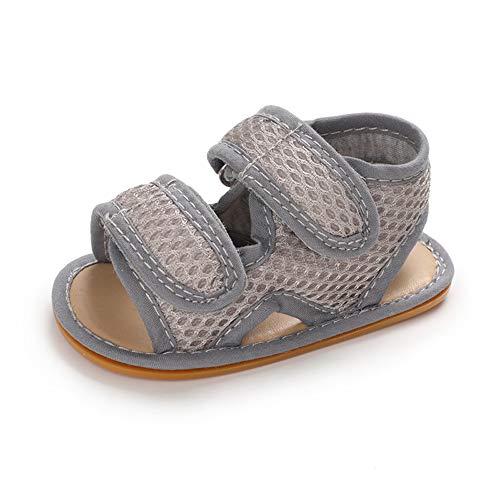 Baby Sandalen Junge Sommer Baby Schuhe Babyschuhe Flach Anti-Rutsch Grau 12-18 Monate (130)