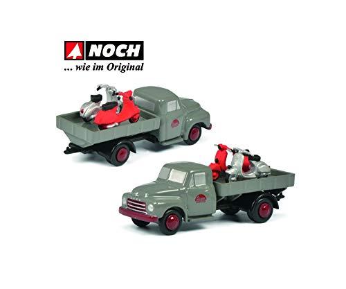 Schuco 450586800 Piccolo Opel Blitz Servico Pritsche, con 2 Scooters Vespa, Modelo de Coche, Color Gris, edición Limitada