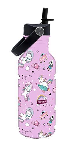 NERTHUS FIH 807-Botellín Infantil a Prueba de Fugas, Botella de Agua para niños con Dibujos de Unicornios Color Rosa, 500 ml