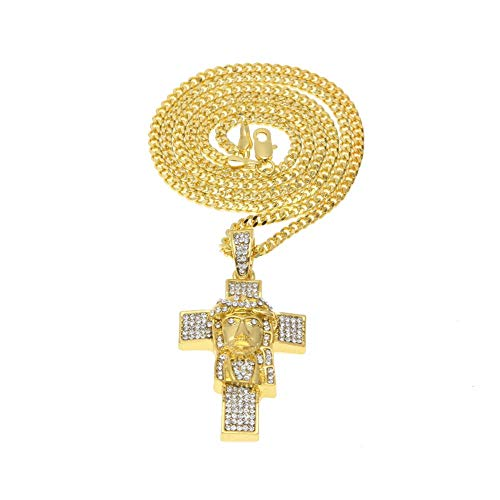 Gepersonaliseerde accessoires, Kettingen, Heren Sieraden Diamond Hip Hop Menselijk Gezicht Als een Diamant Studded Cross Hanger Mannen, Mode Kruis, Hip Hop Diamond Gezicht Cross Hanger en, Thumby goud
