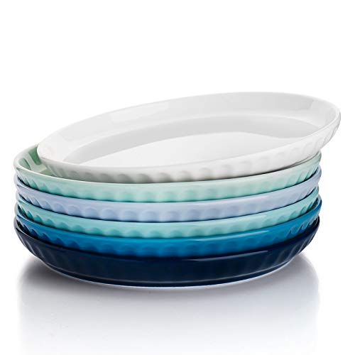 Sweese 157.003 Porcelain Fluted Dessert Salad Plates - 7.4 Inch - Set of 6, Cool Assorted Colors