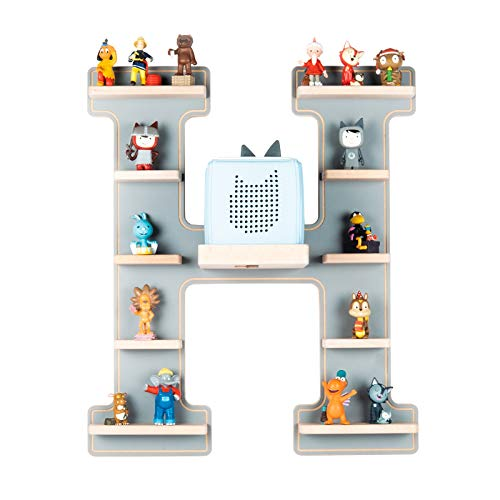 BOARTI das Original Kinder Regal Buchstabe H in Grau - geeignet für die Toniebox und ca. 48 Tonies - zum Spielen und Sammeln