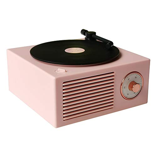 Vinyl Record Player Style Bluetooth Speaker Old Fashioned Classic Style Pink Cute Look Gift for...