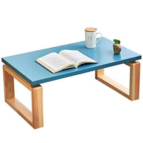 ZXL Bureau voor laptop, van hout, voor glazen bessen, kleine salontafel met twee kussens, bedtafel, eenvoudig (kleur: donkerblauw, maat: 60 cm x 40 cm)