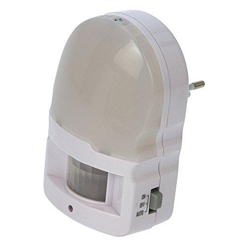Heitronic LED Bewegungsmelder für die Steckdose, 230V AC, 3 neutralweiße LED, Tag-/Nachtsensor