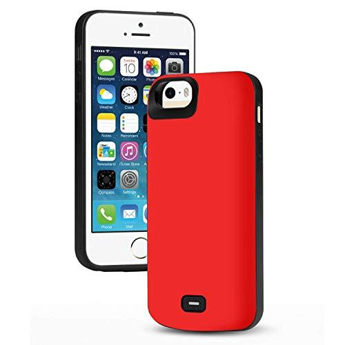 HQXHB Funda Batería para iPhone 5S/5/SE/SE2,4000mAh Funda Cargador Portatil Batería Externa Ultra Carcasa Batería Recargable Power Bank Case para Apple iPhone- Rojo