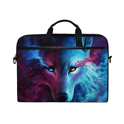 JOYPRINT Laptop Sleeve Case, Galaxy Animal Wolf 14-14.5 inch Briefcase Messenger Notebook Computer Bag with Shoulder Strap Handle for Men Women Boy Girls
