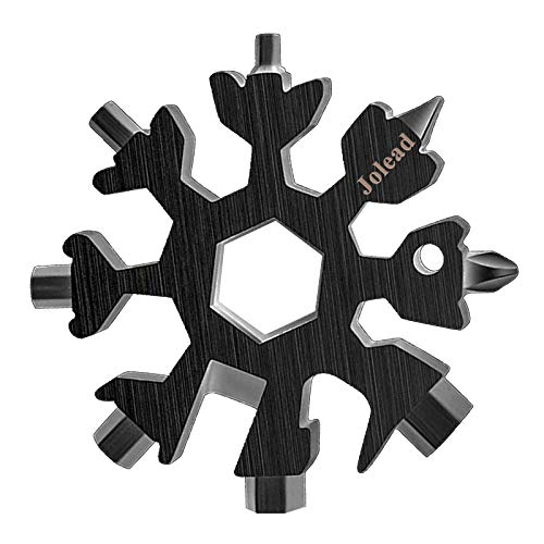 18-in-1 Snowflake Multi Tool, Stainless Steel Portable Keychain Screwdriver Bottle Opener Wrench Multitool for Outdoor, Great Christmas Gifts for Men Dad (Black)