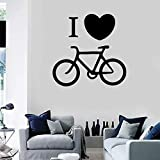 I Love Bicycle Wall Decals Sports Bike Bicycle Vinyl Window Stickers Rider Bedroom Stadium Interior Decoration Creative Heart Mural