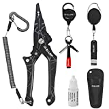 Aluminum Fishing Pliers Hook Remover Tool Kits and Accessories 8 in 1 Combo, Fishing Quick Nail Knot Tying Tools, Stainless Split Ring Forceps and Pliers for Salmon and trout Gears Assortment