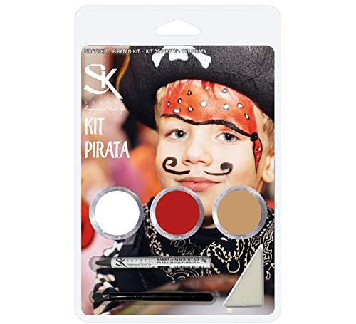 Skarel Set maquillaje. Kit pintura facial pirata carnaval