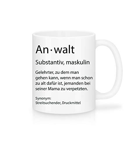 Shirtinator Beruf Definition Anwalt Geschenk Tasse mit Spruch, Arbeit Kollegen Gag Job witzig Teetasse