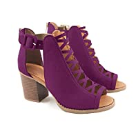 Ermonn Womens Cut Out Heeled Sandals Open Toe Buckle Strap Chunky Stacked High Heel Ankle Booties Purple from